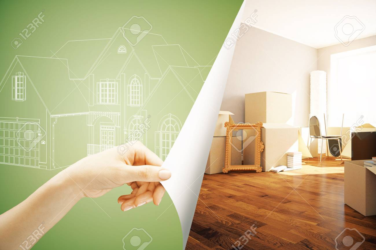 Female hand flipping abstract green paper with house sketch, revealing new interior design. Real estate concept. 3D Rendering - 73769243