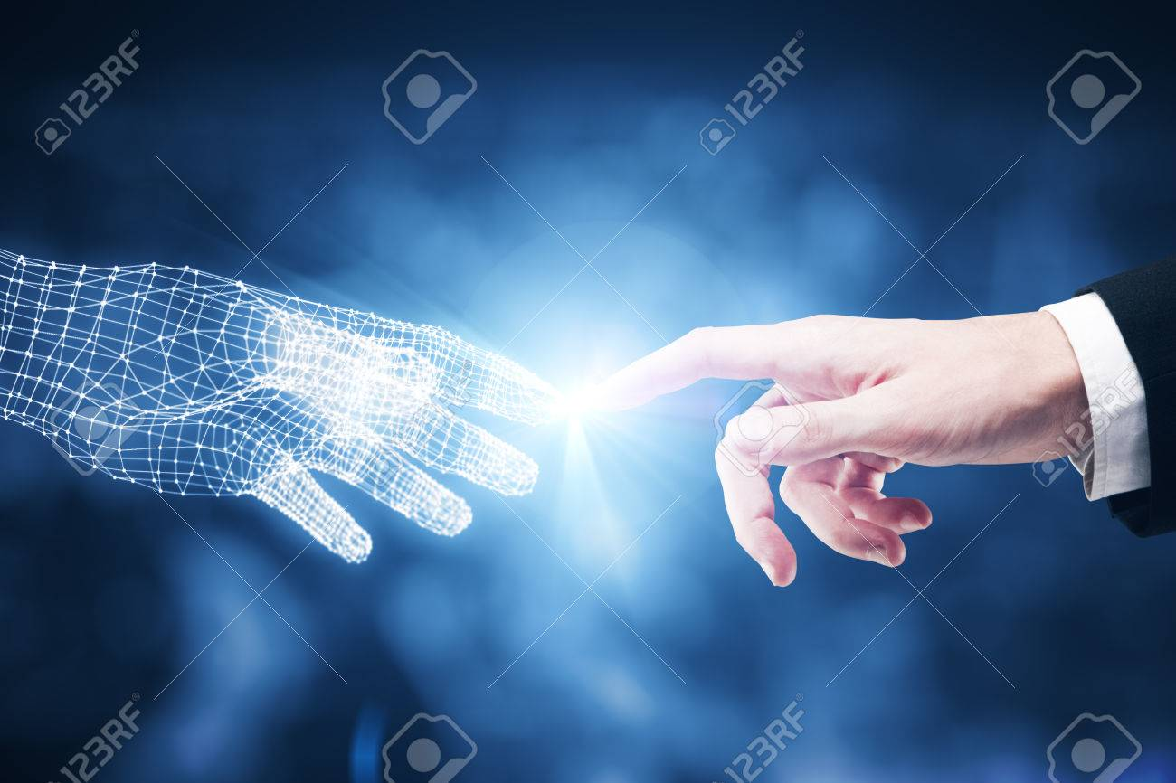 Touching fingers of real and digital businessmen on blurry blue city background. Close up. Future concept - 73769189