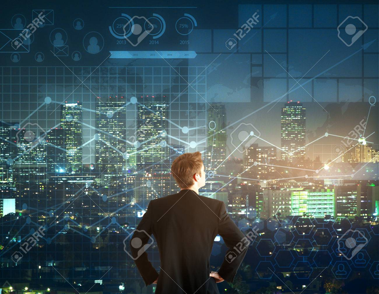 Back view of young businessman looking into the distance on night city and forex chart background. Trading concept - 73769117