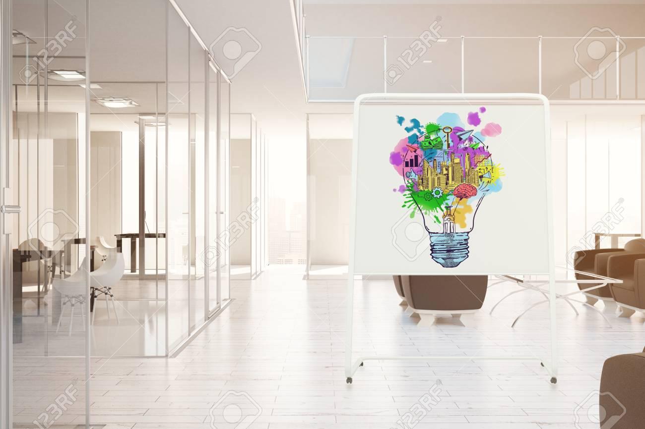 Intérieur de bureau moderne avec croquis de lampe colorée sur