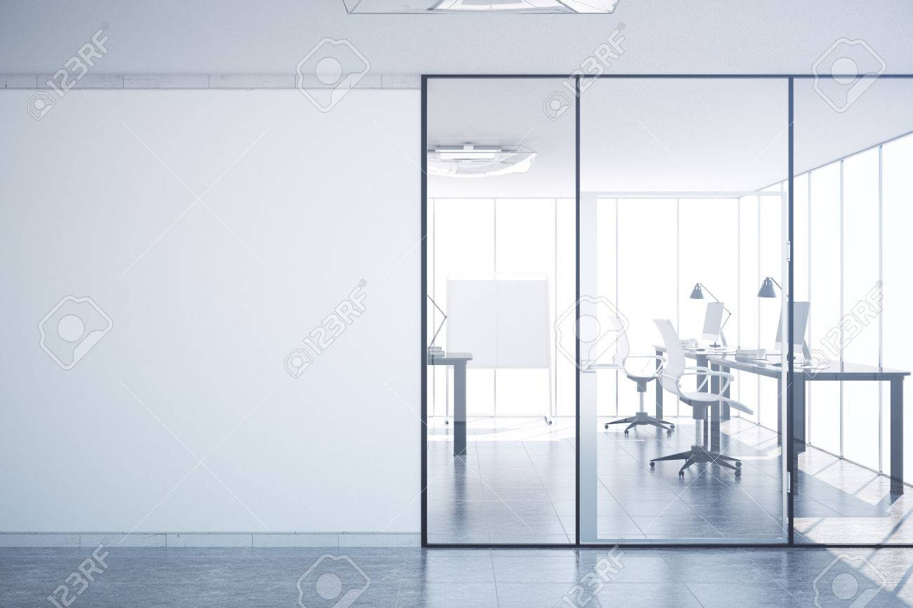 office interior doors. modern simple office interior with glass doors, blank wall copy space, city view doors