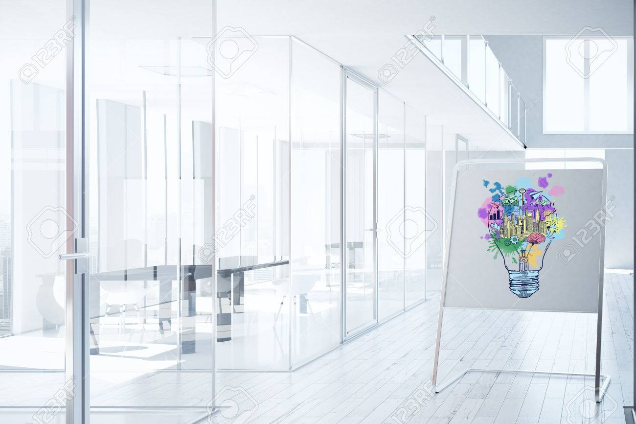 bright office. Bright Office Interior With Business Sketch On Whiteboard Stand. Ideas Concept. 3D Rendering Stock R