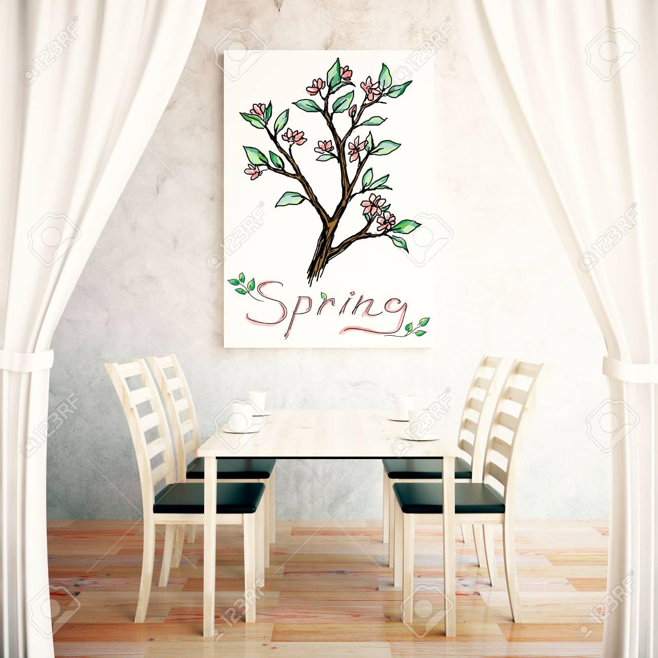 Interior Con Comedor, Cortinas Y Bosquejo De árboles En El Cartel ...