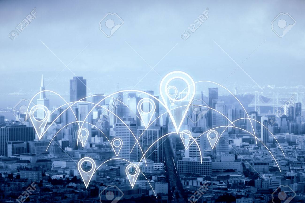 City with abstract connected location pins. Dull sky background. Navigation concept. 3D Rendering Standard-Bild - 76070658
