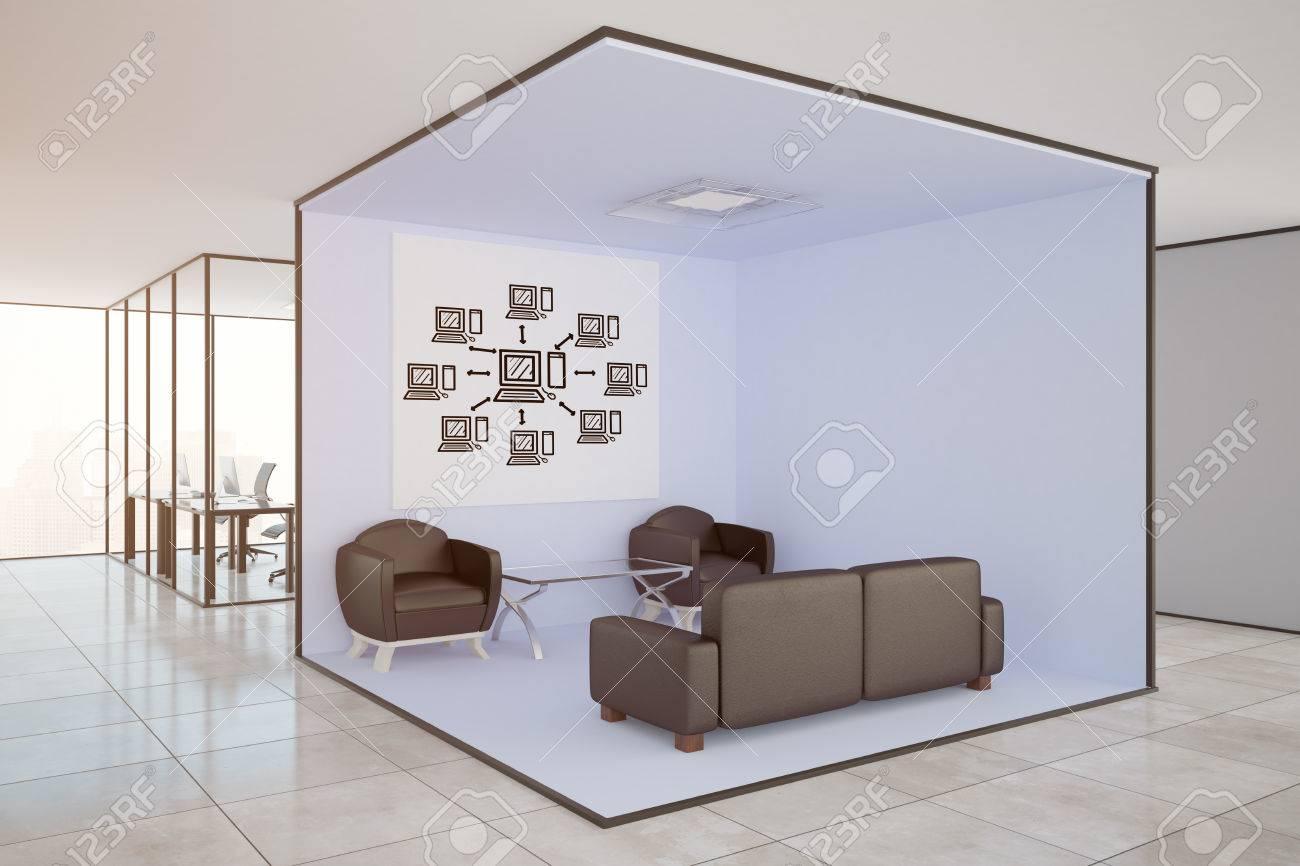 Intérieur de bureau moderne avec salon lieux de travail et