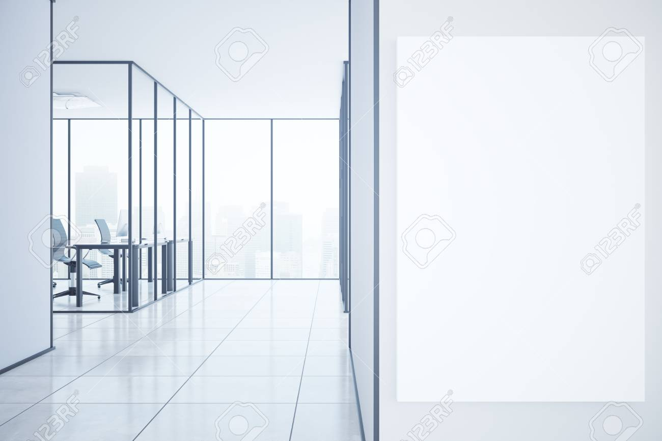 Modern Office Interior With City View Equipment And Blank Poster