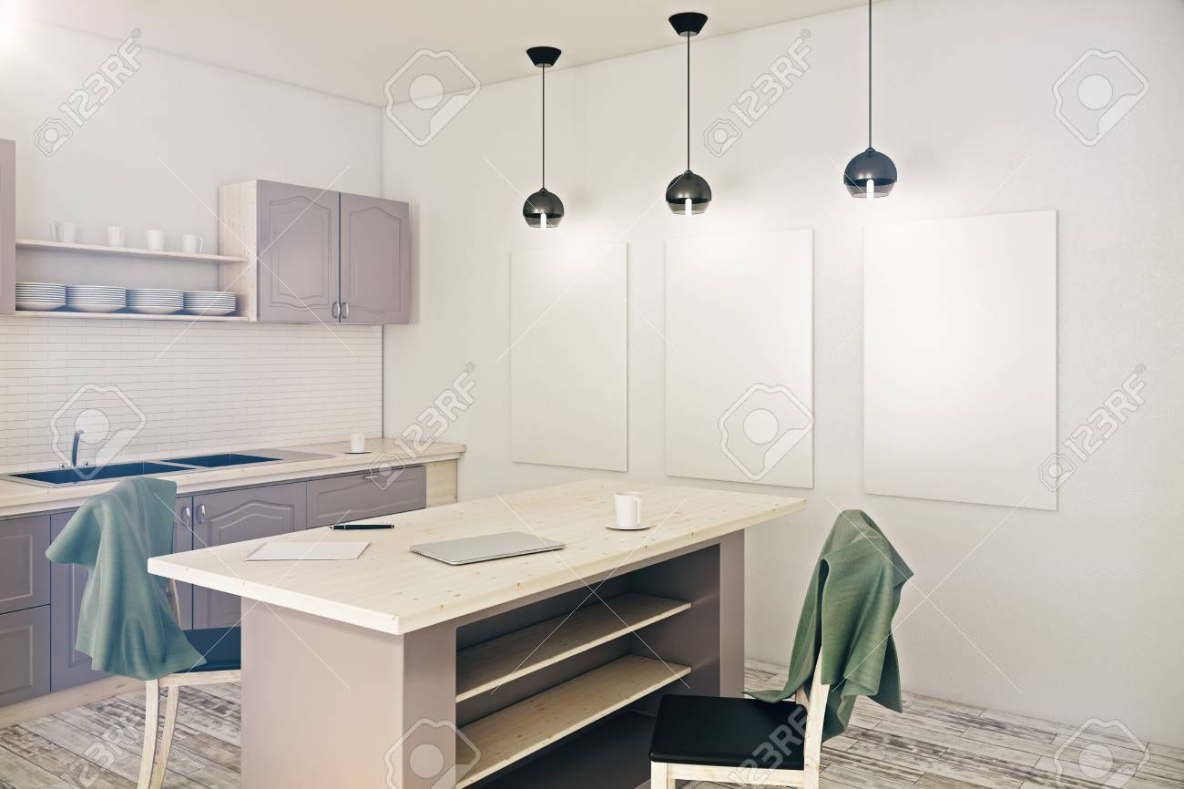 Side View Of Modern Kitchen Interior With Counters And Blank.. Stock ...