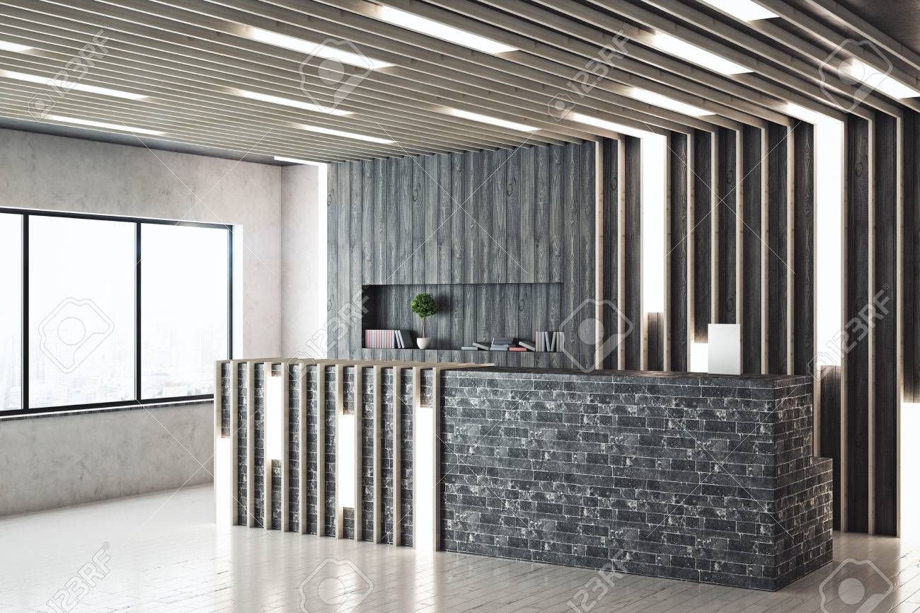 Image of: Side View Of Modern Reception Desk In Contemporary Interior With Stock Photo Picture And Royalty Free Image Image 80813523