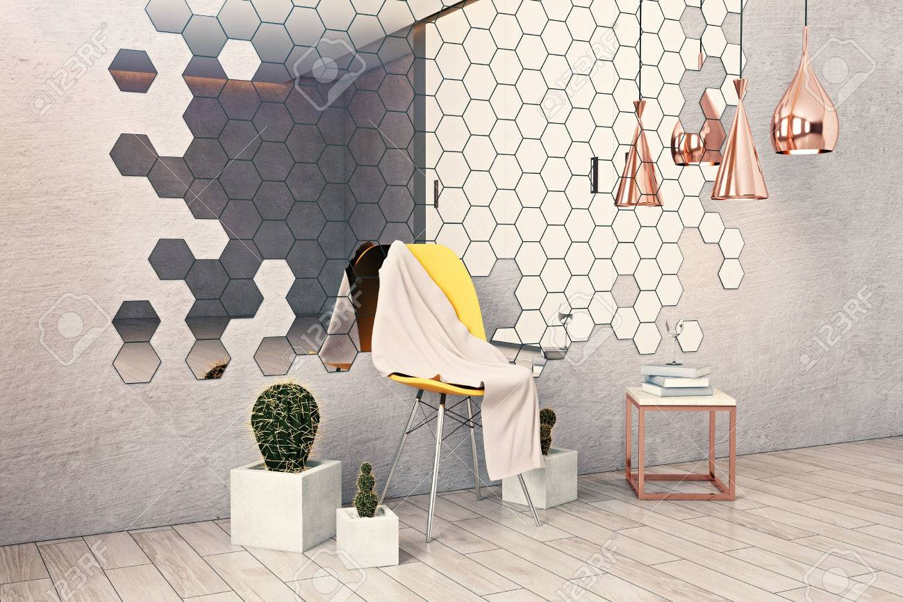 Side View Of Creative Hipster Interior With Hexagonal Mirror, Decorative  Plants, Furniture And Other