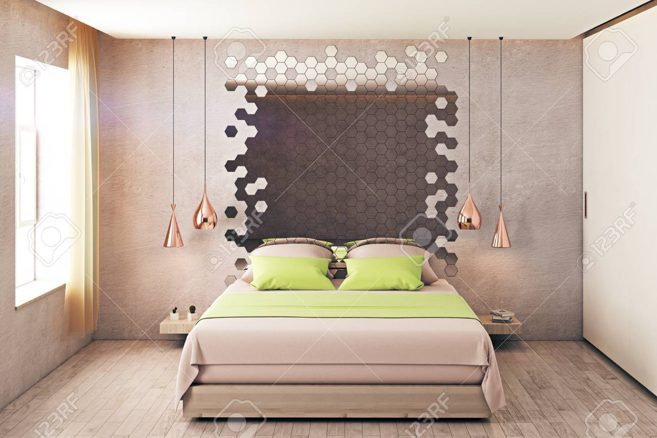 Hipster Bedroom Interior With Furniture, Hexagonal Mirror And ...