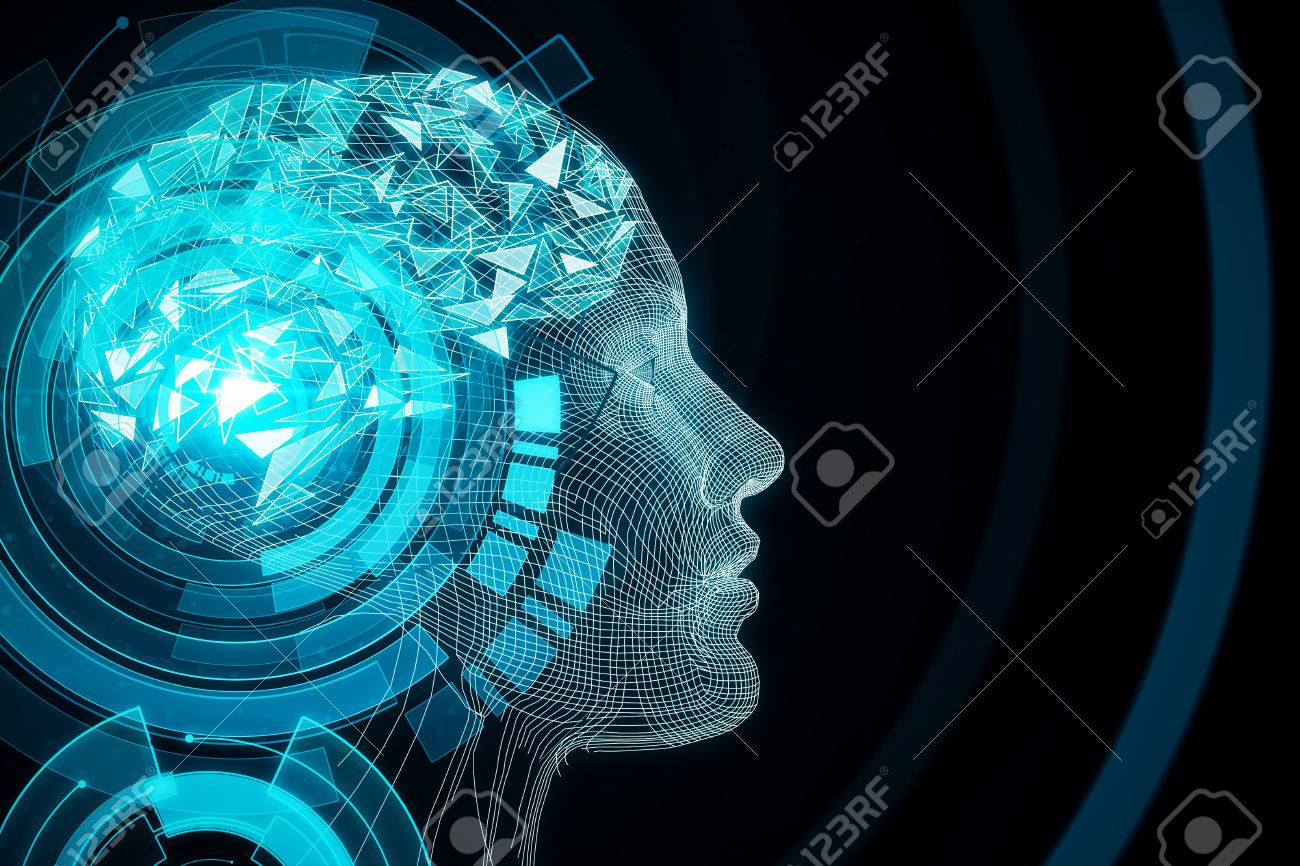 Abstract Blue Digital Human Profile On Dark Background Robotics