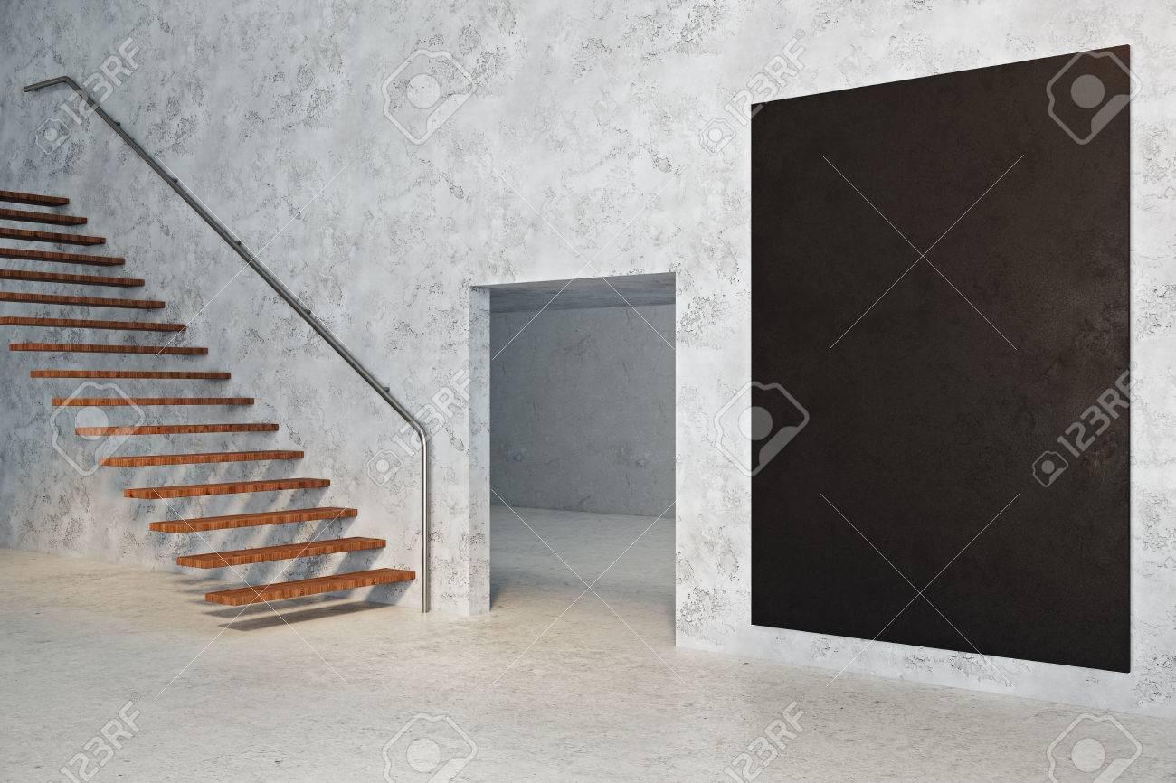Beton In Interieur : Seitenansicht der beton raum interieur mit kopie raum auf leere