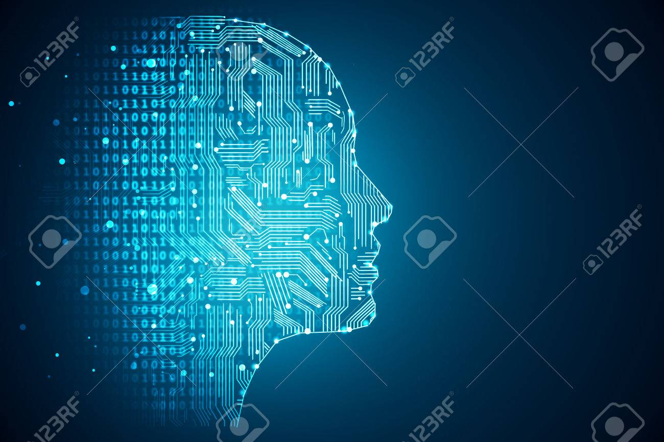 Artificial intelligence. Human head outline with circuit board inside. Technology and engineering concept. 3D Rendering Standard-Bild - 82068916