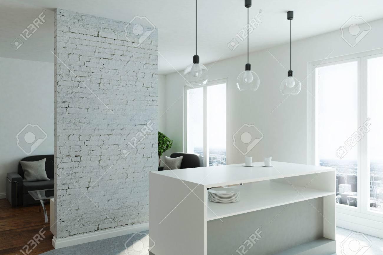 Immagini stock monolocale moderno con cucina soggiorno finestra