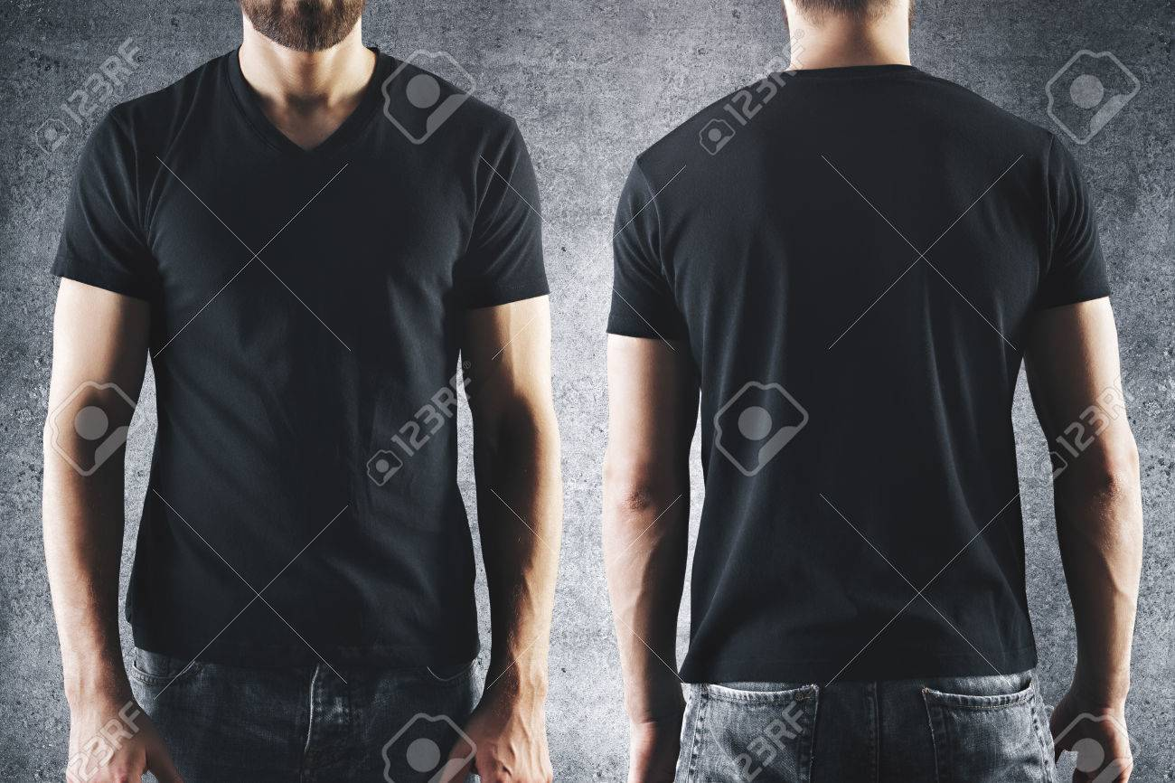 Shirt Design And People Concept Close Up Of Male In Blank Black T
