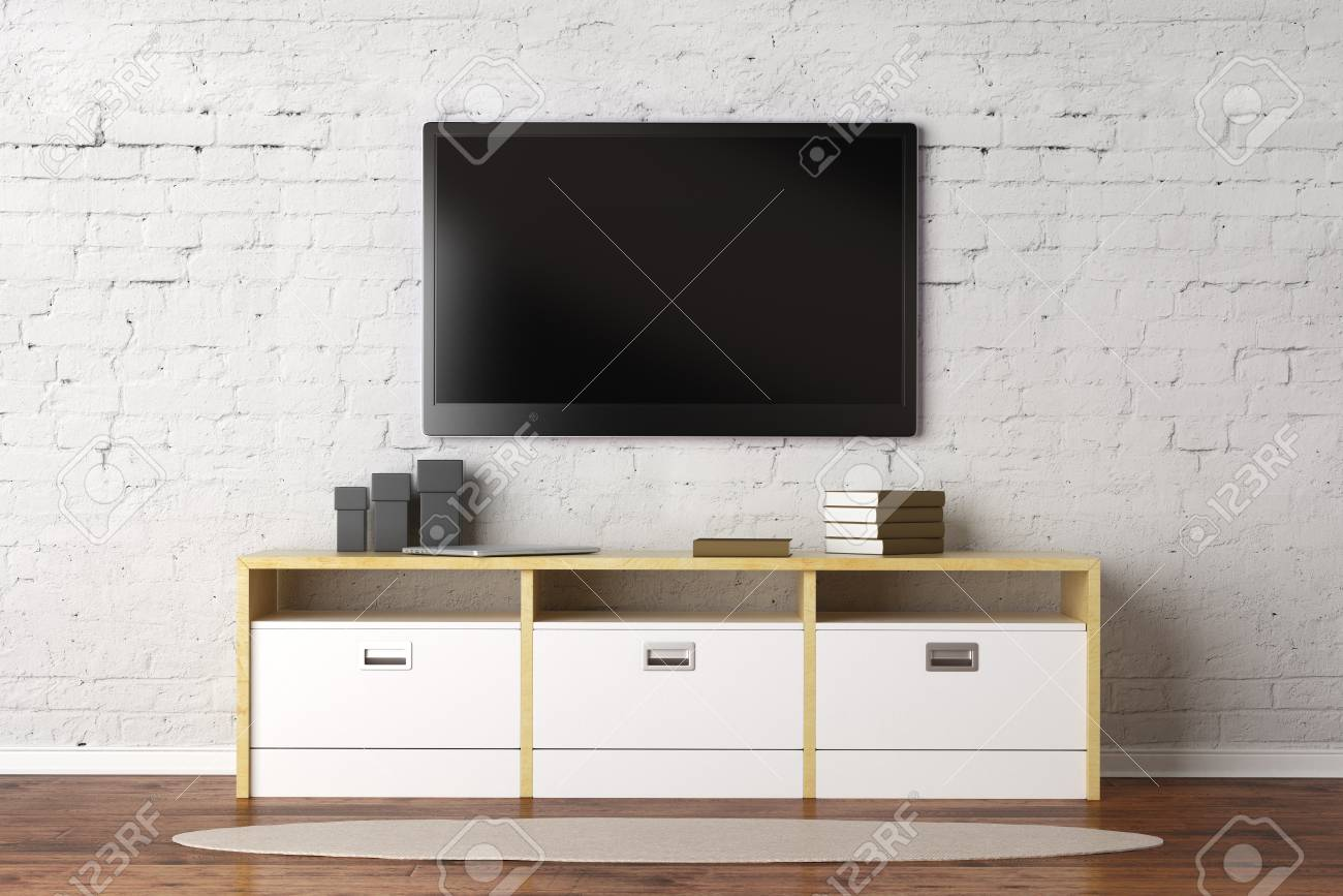 Tv Set With Empty Screen In Living Room Interior With White Brick Stock Photo Picture And Royalty Free Image Image 83383309