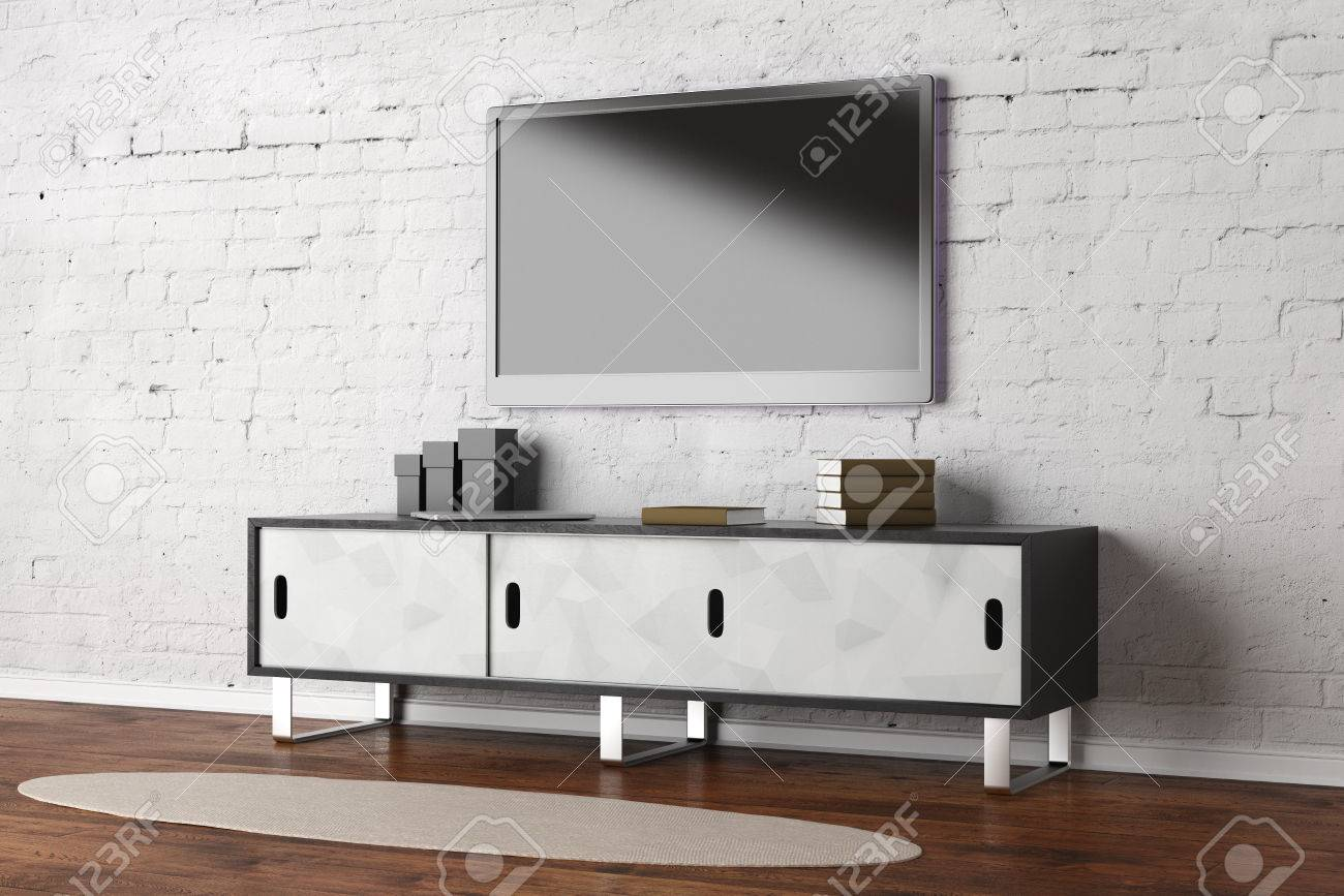 Tv Set With Empty Screen In Living Room Interior With White Brick Stock Photo Picture And Royalty Free Image Image 83383030