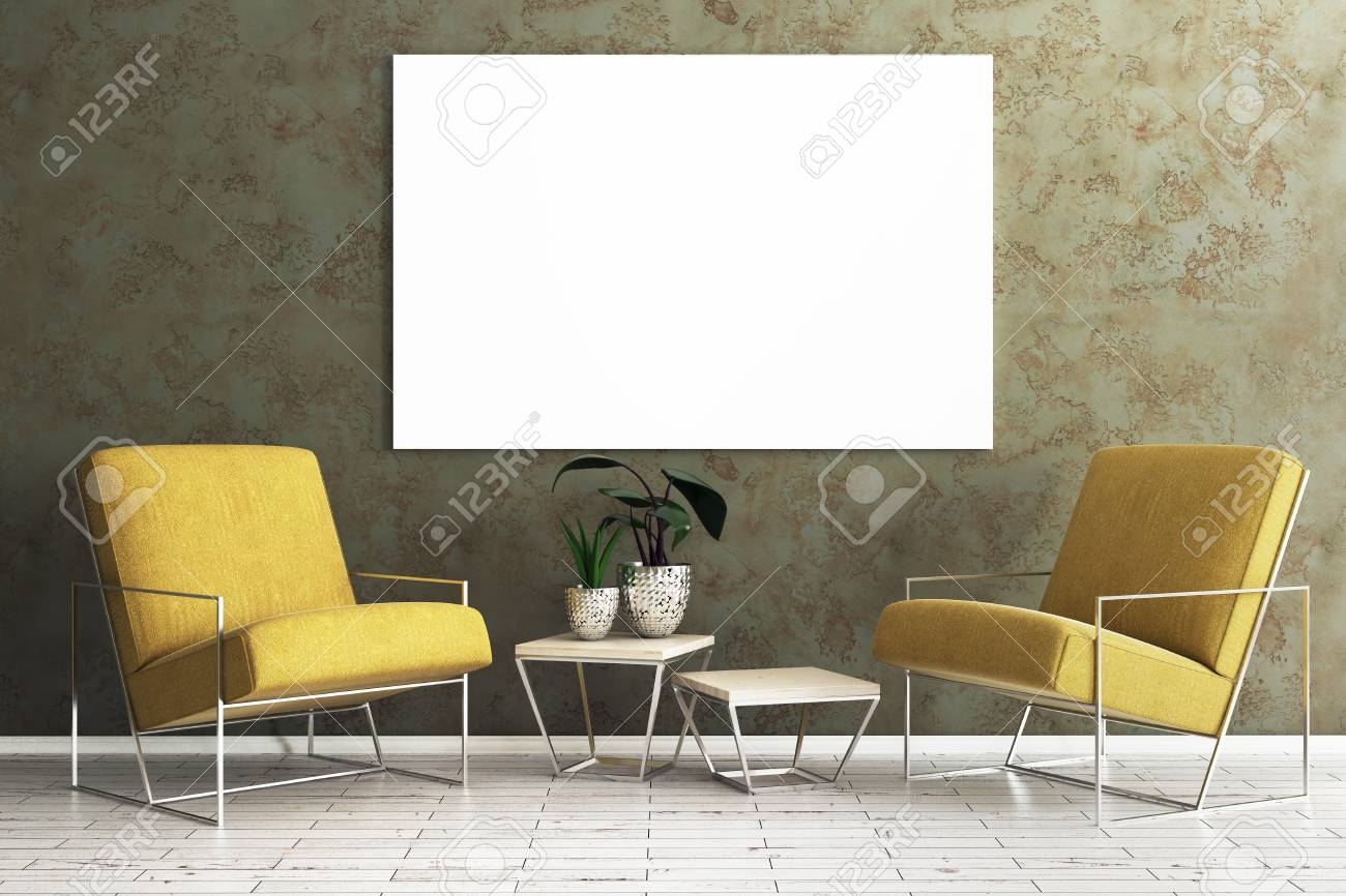 photo fortable living room interior with armchair table with green and empty frame on concrete wall moc