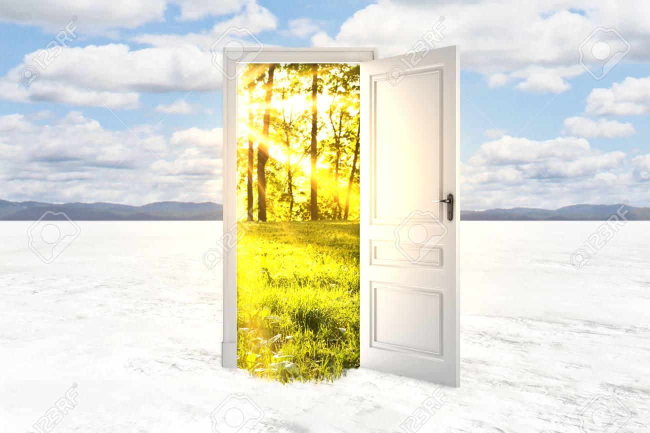 Resumen Puerta Abierta Con Paisaje De Verano Vista En El Desierto ...