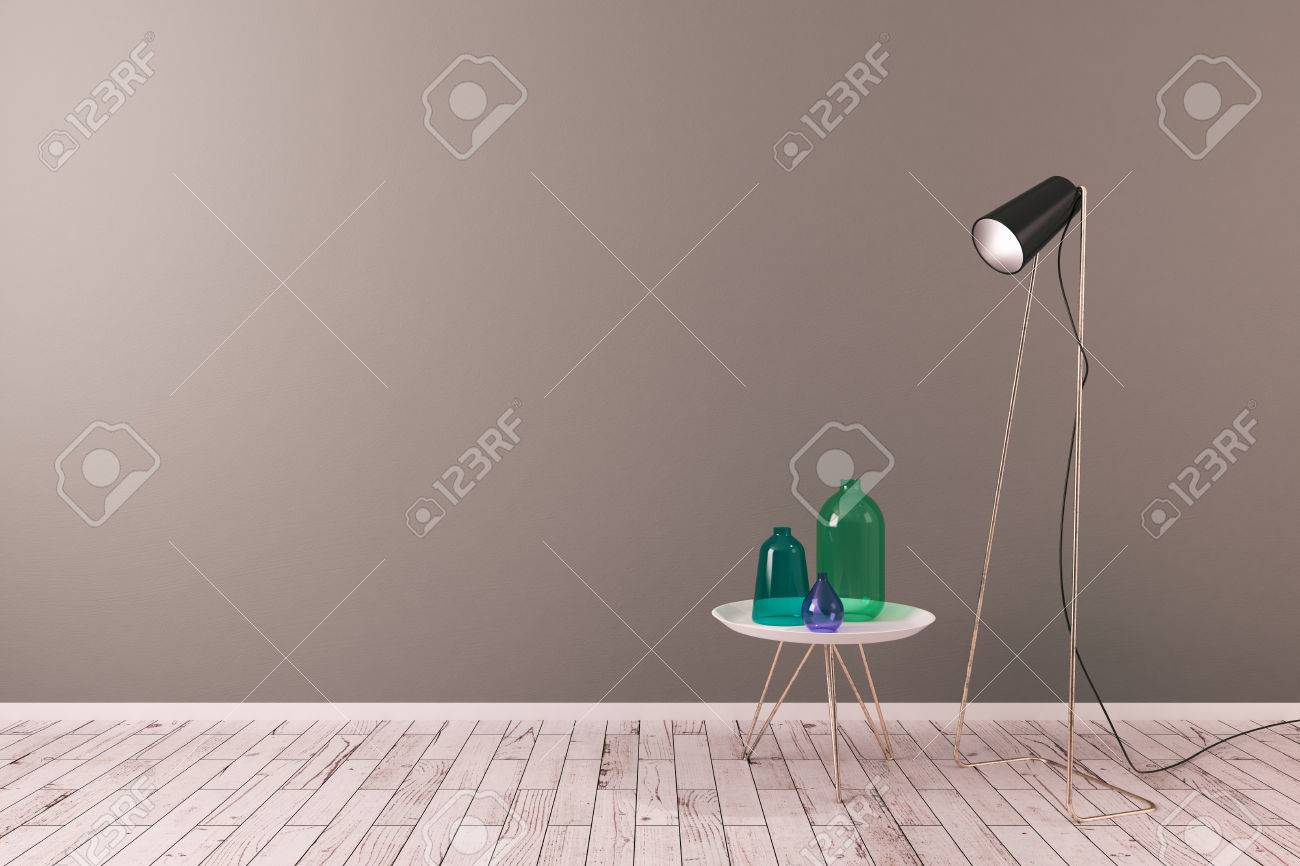 Creative scandinavian living room interior with empty wall floor creative scandinavian living room interior with empty wall floor lamp and small decorative table with reviewsmspy