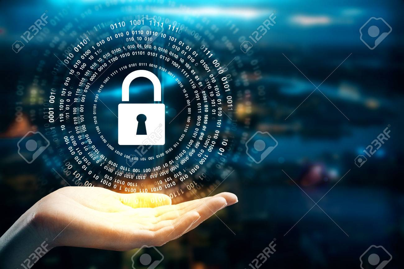 Female hands holding abstract padlock hologram on blurry background. Protection concept - 85047503
