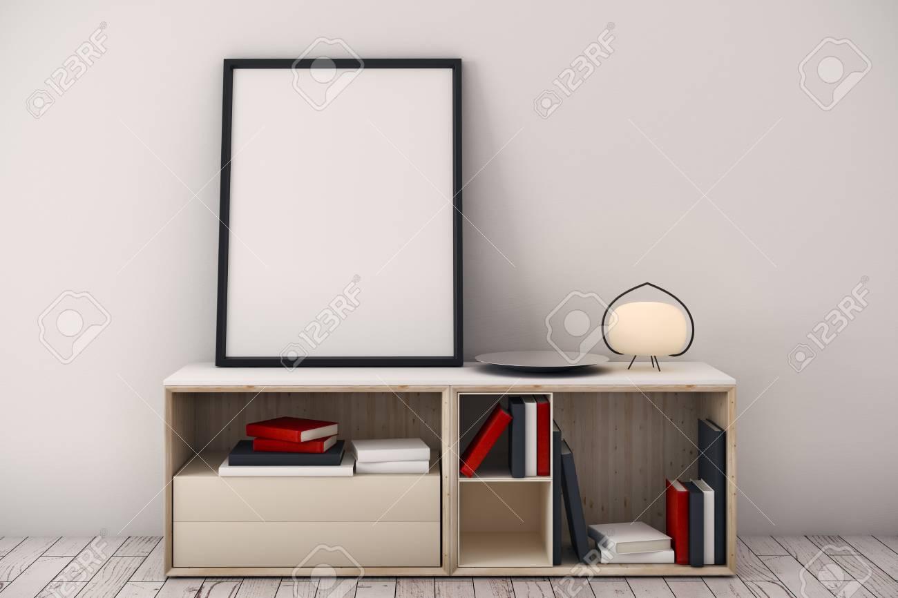 Zeitgenössischer Rauminnenraum Mit Einzelteilen Auf Kabinett Und ...