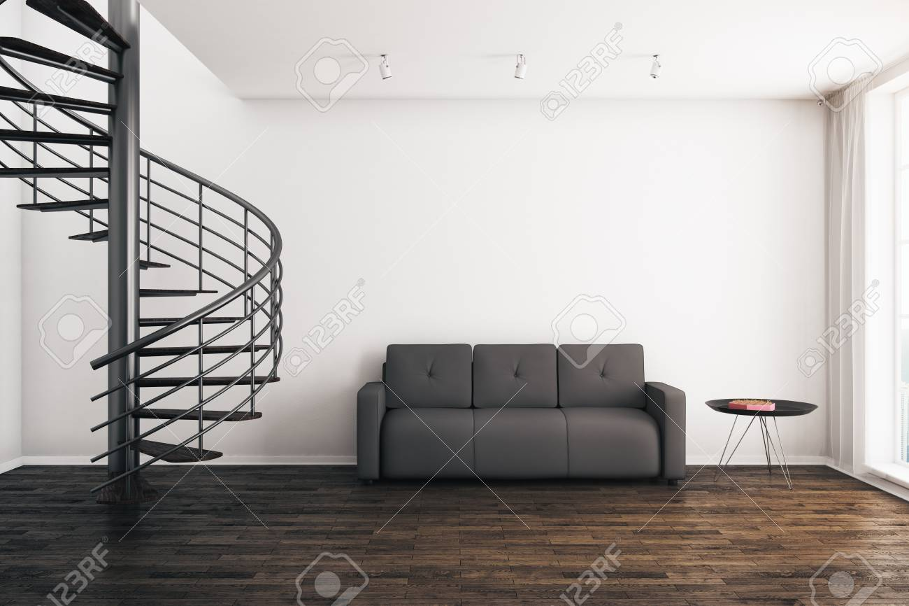 Modern Room Interior With Spiral Staircase, Sofa, Coffee Table ...