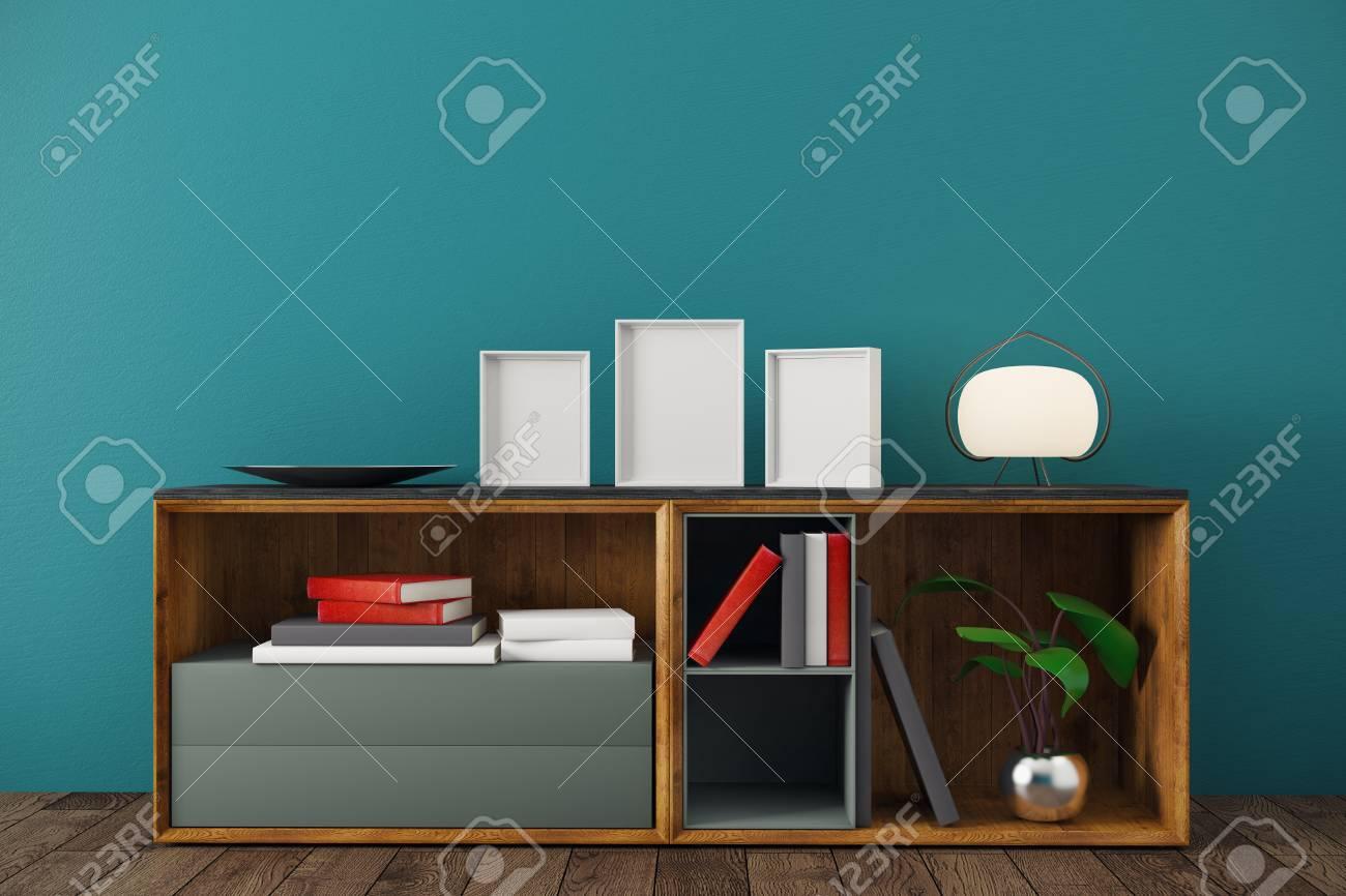 Moderner Rauminnenraum Mit Einzelteilen Auf Kabinett Und Leeren ...