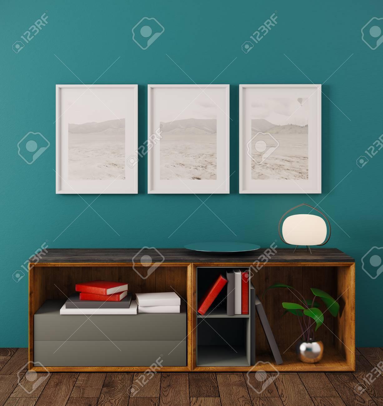 Reinraum Innenraum Mit Bilderrahmen, Bücher, Lampe Und Andere ...