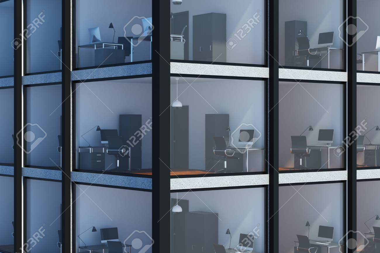 cd0a91f2b64 Abstract glass building corner background with visible office interiors.  Skyscraper concept. 3D Rendering Stock