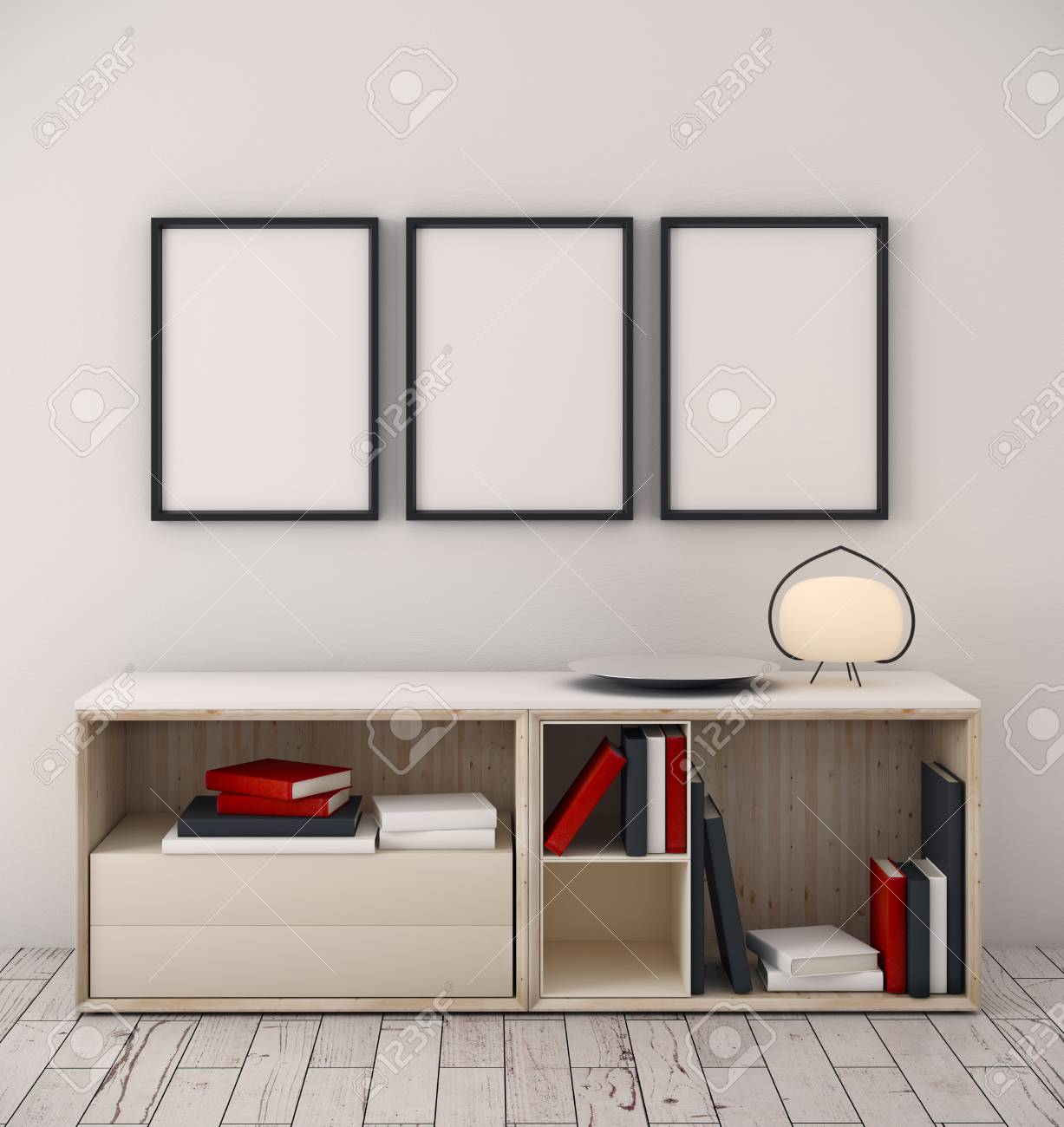 Minimalistic Room Interior With Items On Cabinet And Empty Picture ...