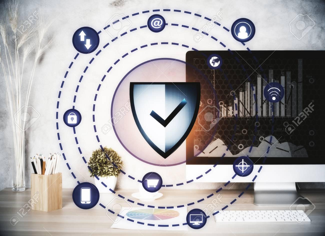 Modern Designer Workplace With Antivirus Shield Projection Web