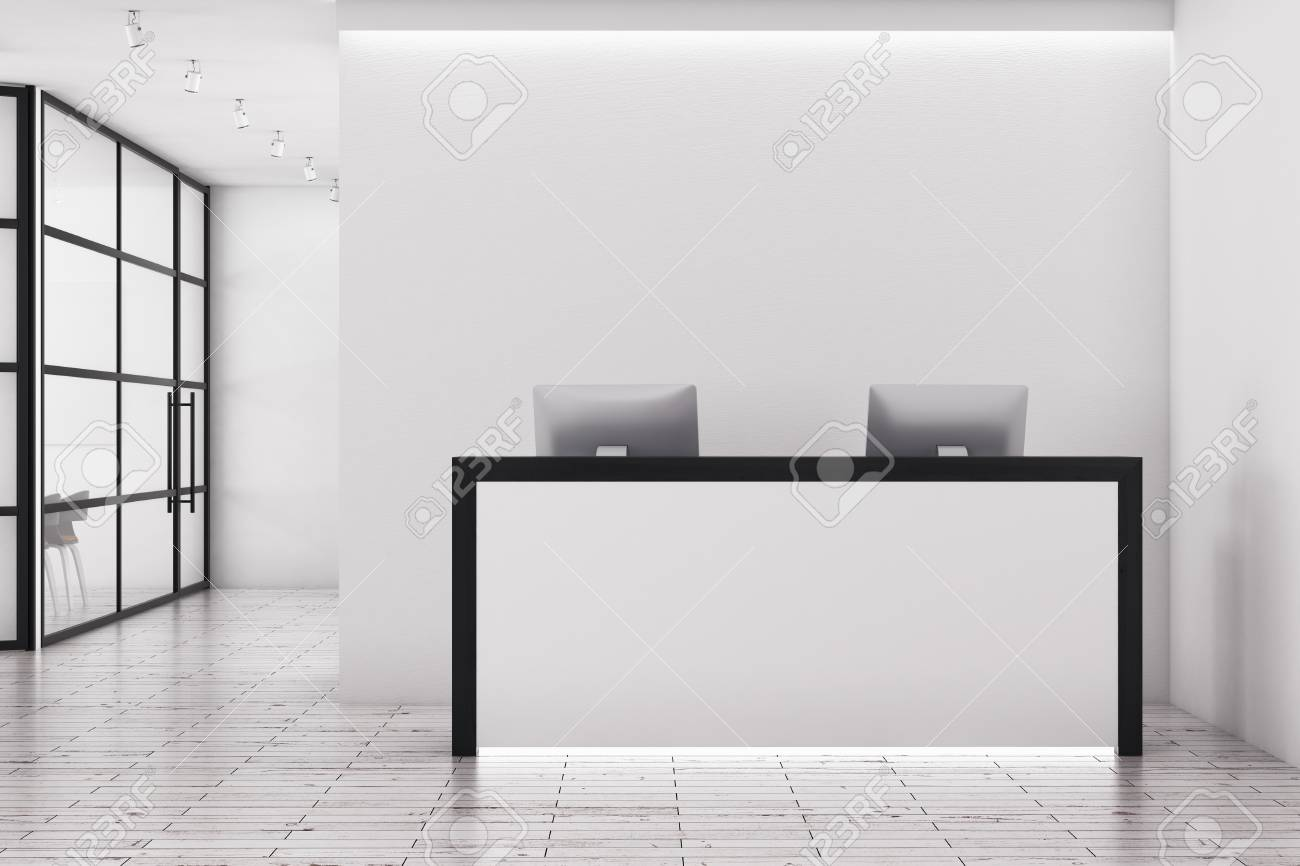 bright office. Bright Office Interior With Reception Desk And Copy Space Above. Mock Up, 3D Rendering