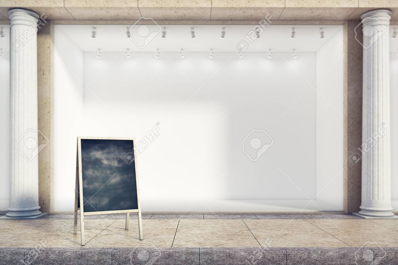 Empty Menu Board Next To Building With Blank Storefront Restaurant Ad Concept Mock Up