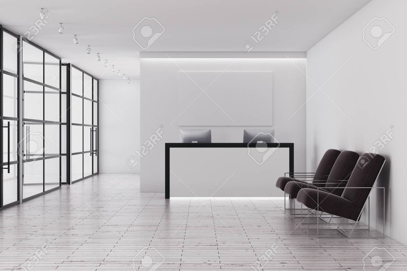 contemporary office interior. Contemporary Office Interior With Reception Desk, Glass Walls And Seats. 3D Rendering Stock Photo O