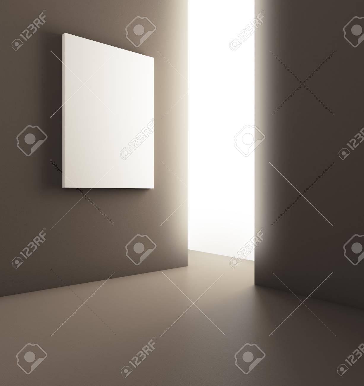 Abstrakter Moderner Glühender Rauminnenraum Mit Leerem Plakat Auf ...