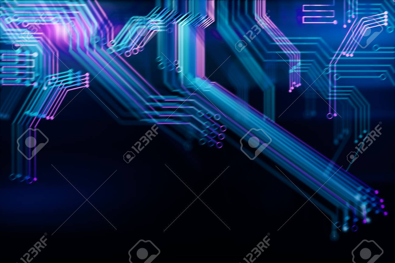 Abstract Digital Blurry Motherboard Wallpaper Technology And Computer Hardware Concept 3D Rendering Stock Photo