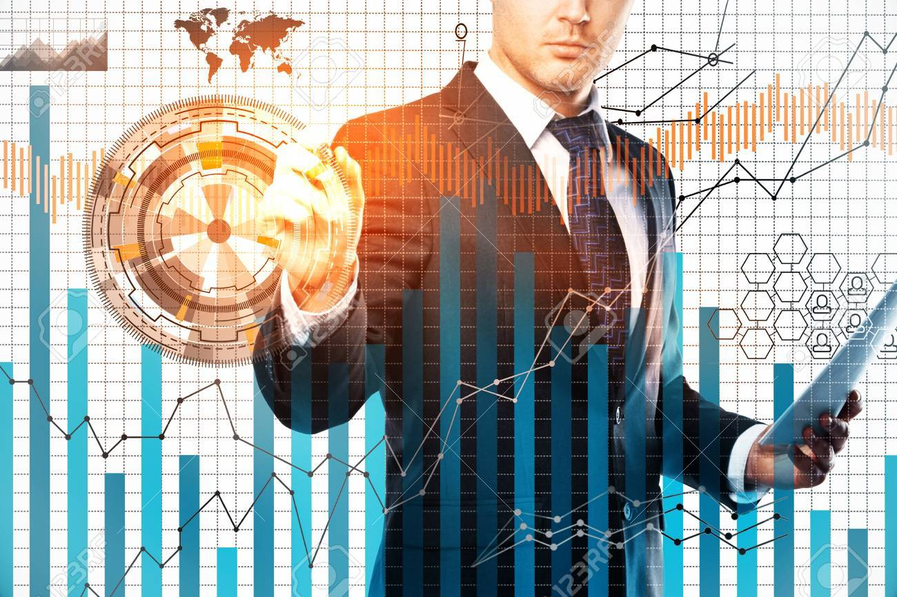 Businessman drawing digital business chart on white grid background. Forex concept. Double exposure - 87654509