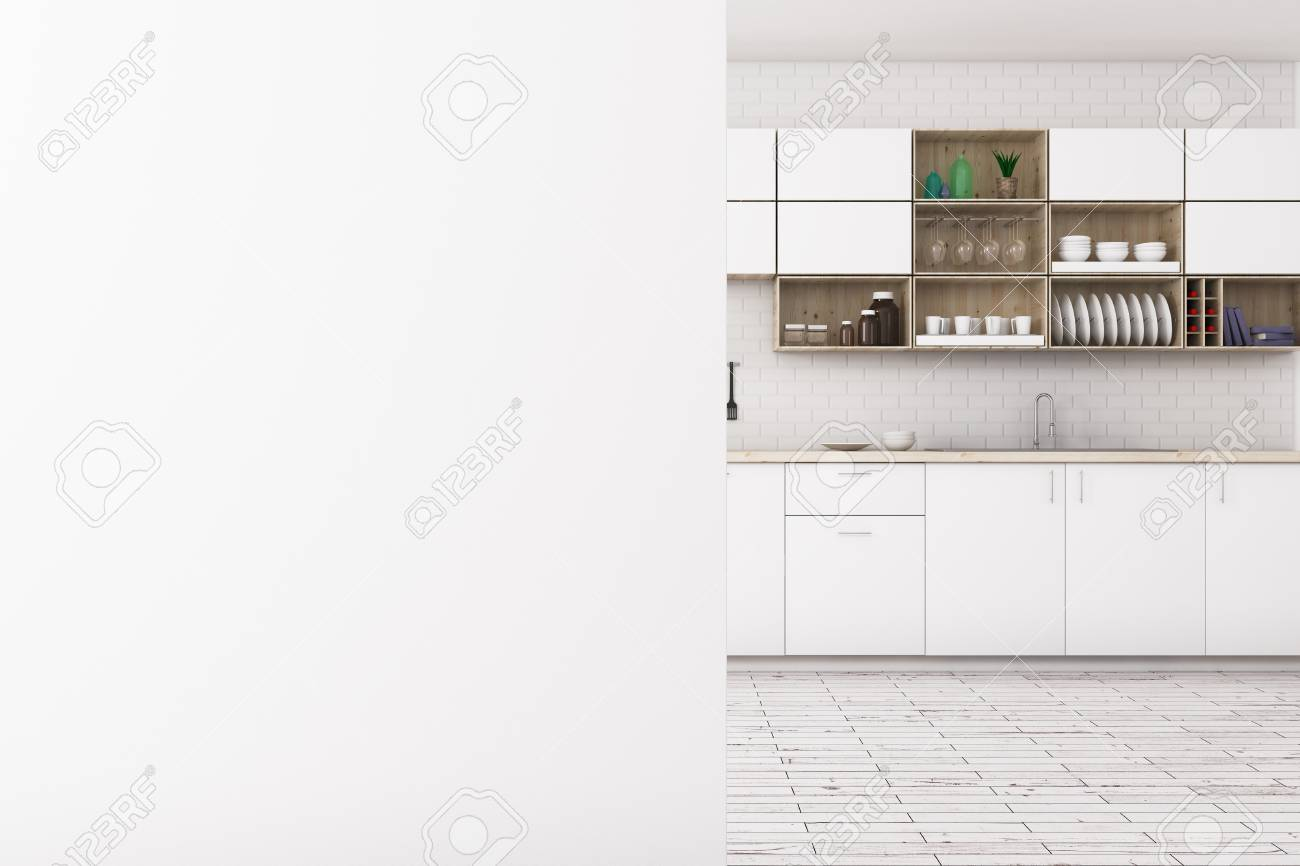 White Blurry Kitchen Interior With Empty Banner Wall Advert Stock
