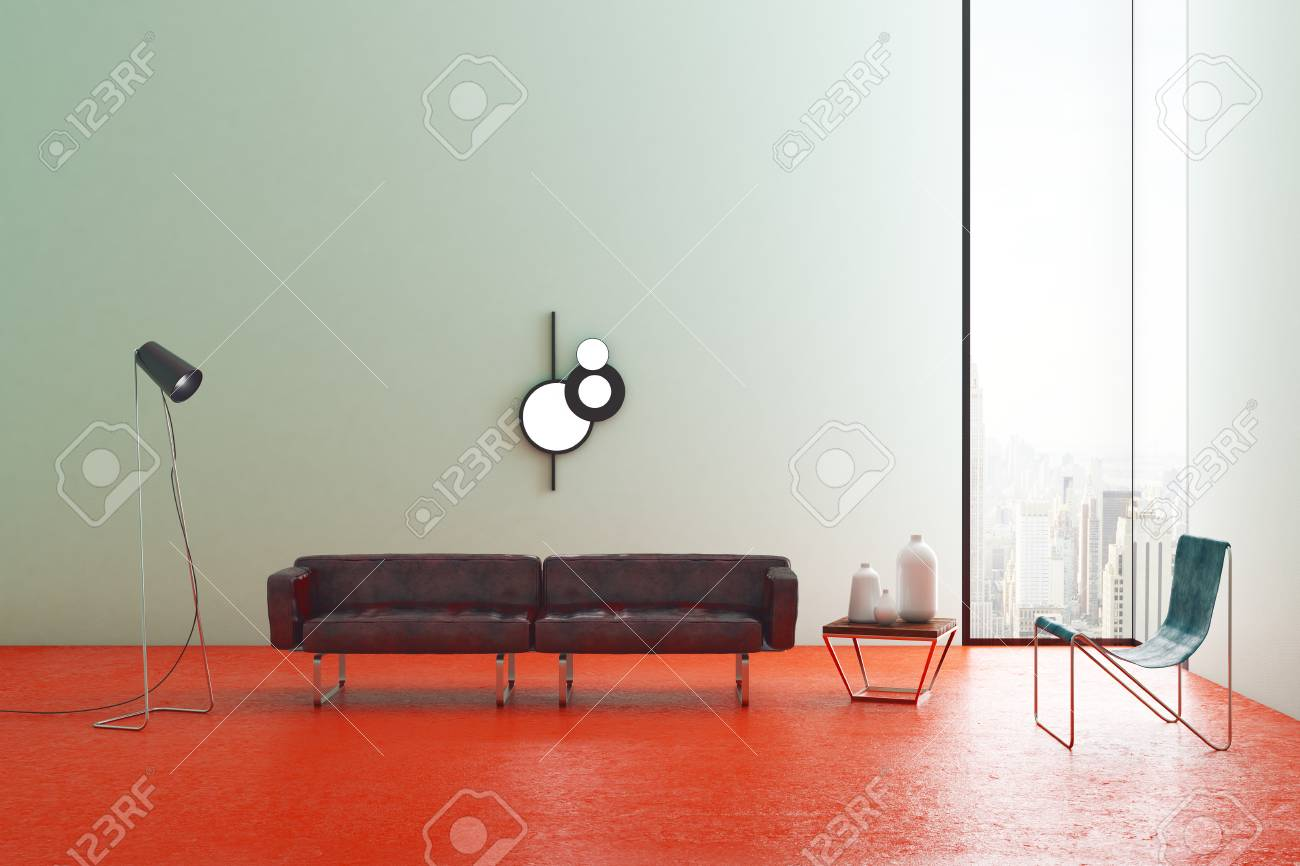 New Light Living Room Interior With Stylish Furniture, City View ...