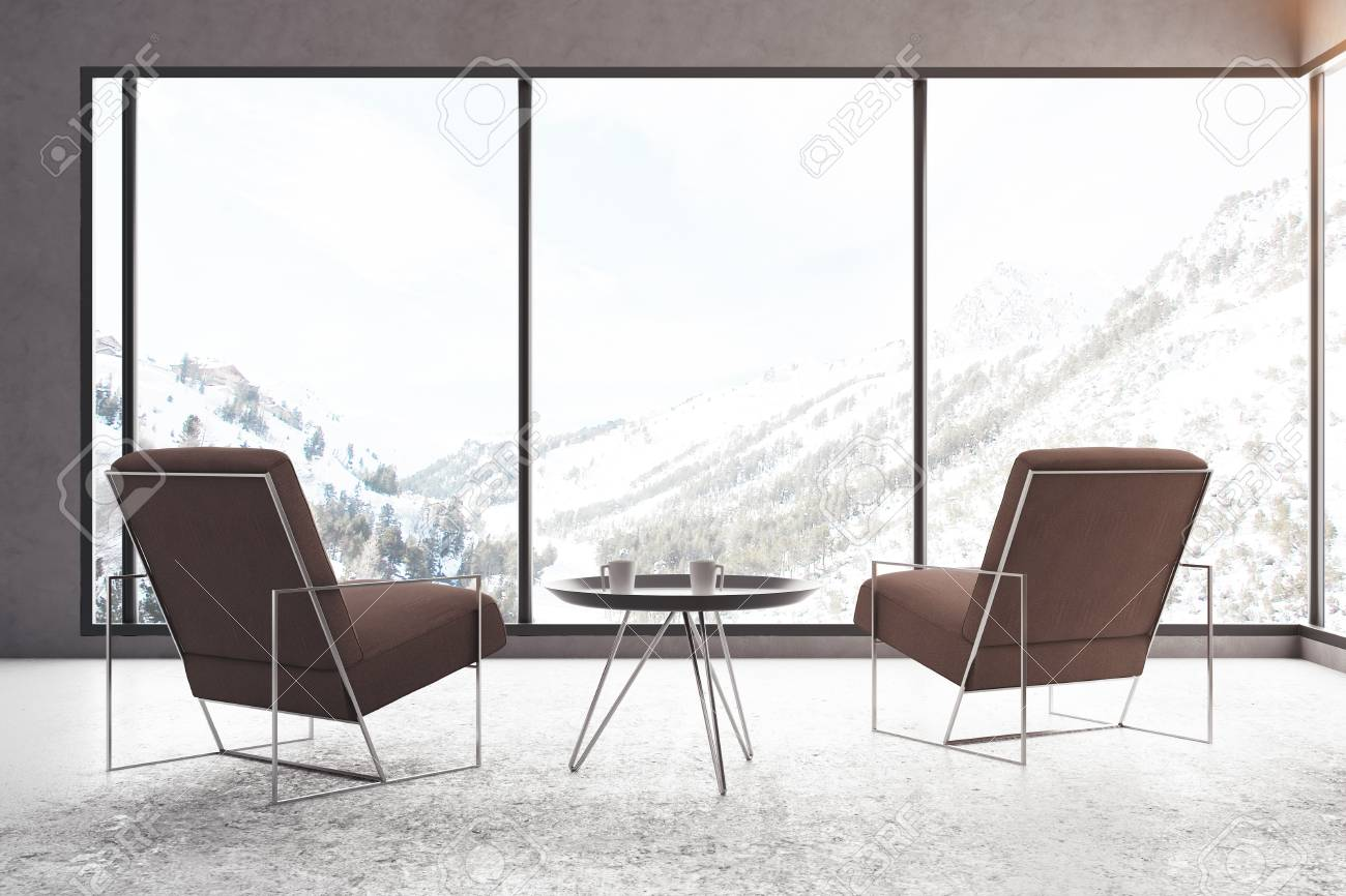 Contemporary Meeting Room With Two Armchairs, Coffee Table And Panoramic  Winter Landscape View. 3D