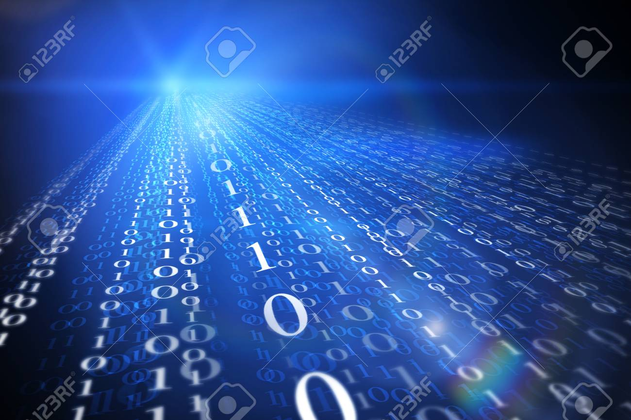 Streaming binary code background  Data and technology, decryption