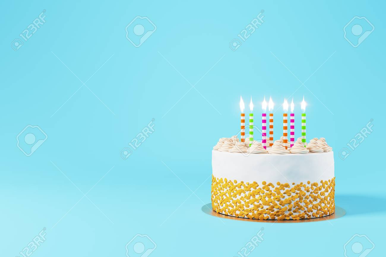 Pretty Birthday Cake With Lit Candles On Light Blue Background Copy Space Dessert Concept