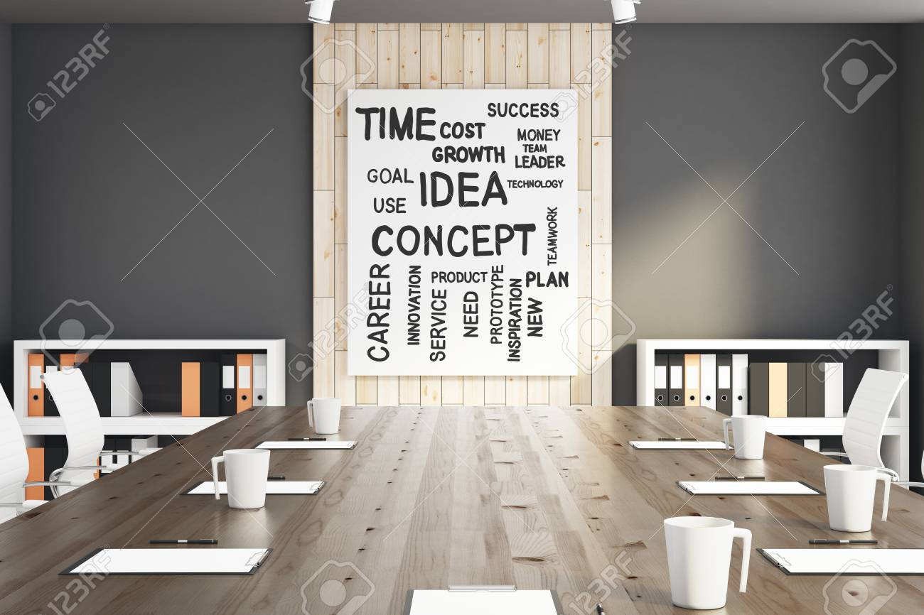 Close Up Of Conference Table In Interior With Words On Banner Stock Photo Picture And Royalty Free Image Image 88752874