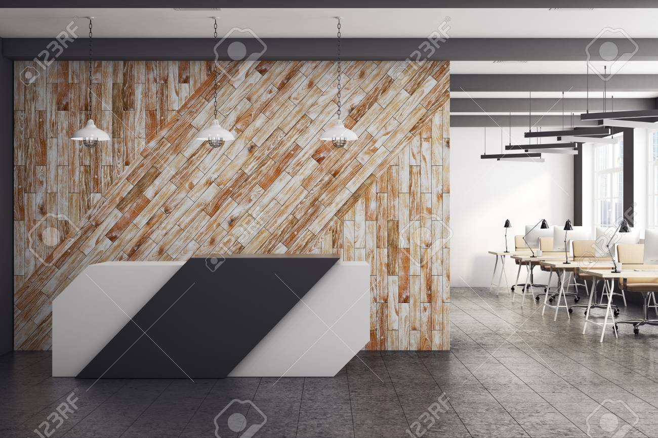 office reception interior. Modern Office Interior With Reception Desk And Clean Wooden Wall. 3D Rendering Stock Photo -