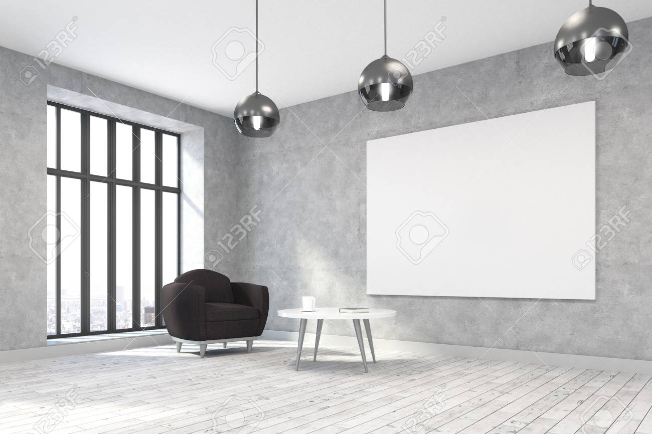 Side View Of Modern Living Room Interior With Furniture, Empty ...