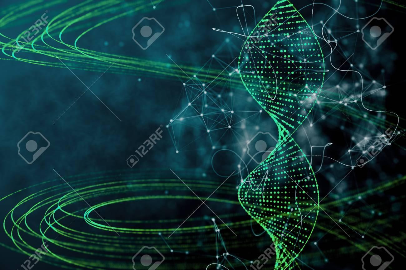 Digital green DNA backdrop. Innovation, medicine and technology concept. 3D Rendering - 89171362