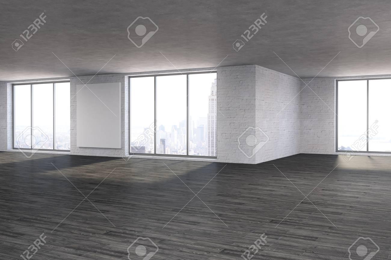 Moderner Unmöblierter Rauminnenraum Mit Leerem Plakat, Fenstern Mit ...