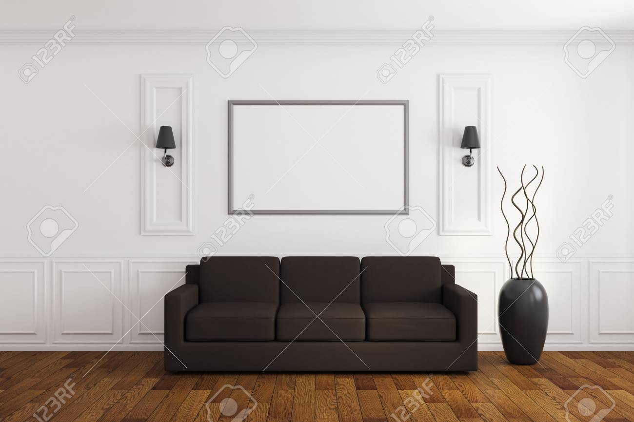 Modern white living room interior with empty poster couch and