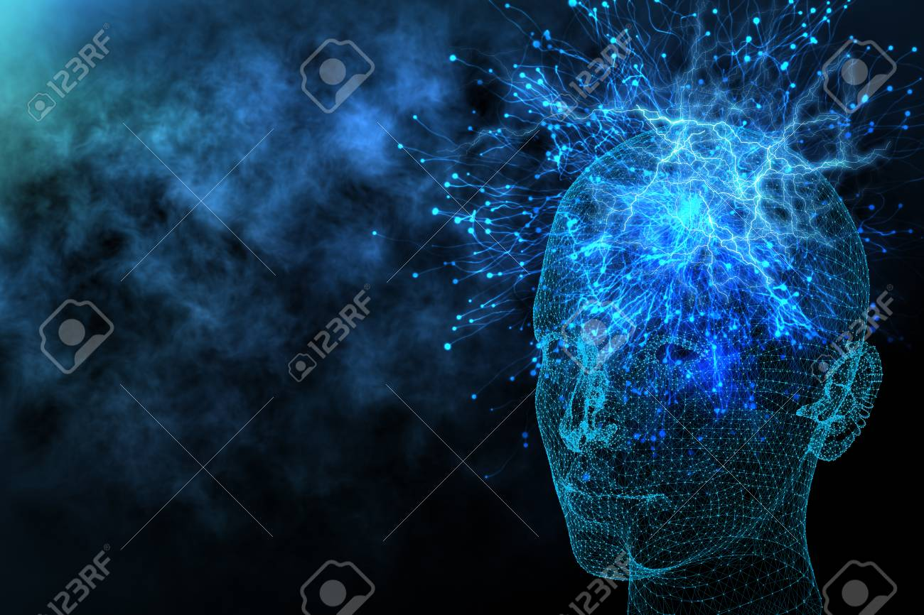 Abstract glowing polygonal head background with neurons. Artificial intelligence and information concept. 3D Rendering - 89729344